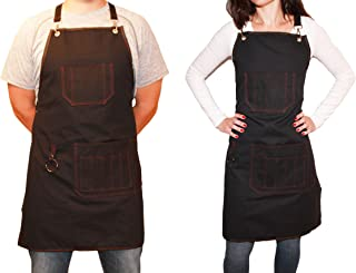 Full Length Heavy Duty CanvasAprons with Pockets, Adjustable to XXL, Men & Women, Water and Oil resistant
