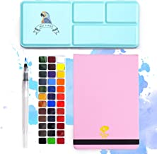 Meiliang Watercolor Paint, Set of 36 Vivid Colors in Half Pan with a 100% Cotton Watercolor Journal, Mental Box and Brush ...