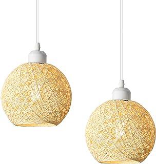 FAISHILAN Modern Lattice Cream Wicker Rattan Ball Style Home Decoration Lighting Ceiling Pendant Light Lampshade Restauran...