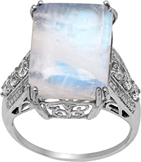 Rainbow Moonstone Statement Solitaire Accents Wedding Cz Ring 925 Sterling Silver