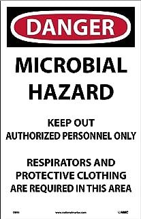 D895 National Marker Danger Microbial Hazard Paper Sign (Pack of 100)