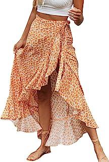 BerryGo Women's Boho Floral Wrap Maxi Skirt High Waisted Long Skirt with Slit