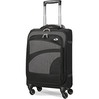 Aerolite Lightweight 55cm 4 Wheel Travel Carry On Hand Cabin Luggage Suitcase Black Grey Approved for easyJet British Airways Ryanair and More