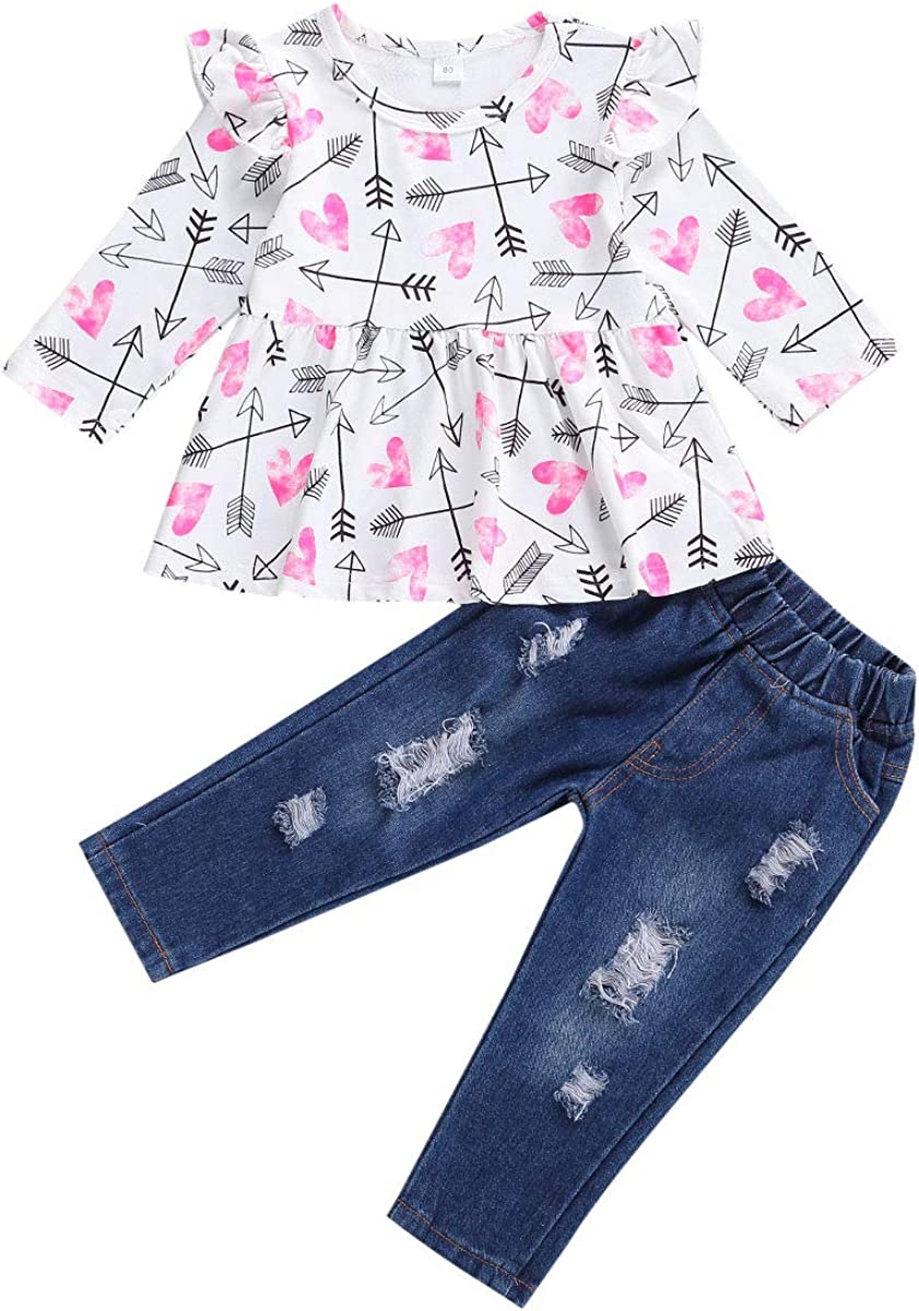 Toddler Baby Girl Ripped Jeans Ruffle Alternative dealer low-pricing Floral Outfit Sleeve Long