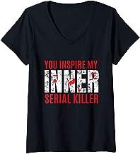 Womens Inner Serial Killer Funny Morbid Joke V-Neck T-Shirt