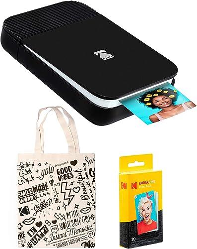 2021 KODAK online sale Smile Instant Digital Printer (Black/White) Tote sale Bag Bundle outlet sale