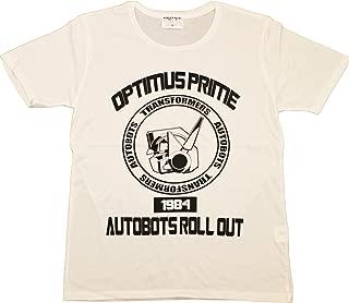 トランスフォーマー【国内公式監修】Tシャツ オプティマスフェイスカレッジデザイン (XL, オフホワイト)