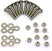 10 Set Carriage Bolt Sets 304 Stainless Steel Carriage Screw Hex Nut and Flat Washer Kits 1/4-20 Inches