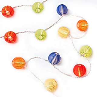 NIOSTA 9Ft Hanging Paper Lantern String Lights:10 Mini Oriental Style Colorful Lanterns Plug in Home & Garden Decorative Lights for Indoor/Outdoor Patio Party Wedding Bedroom Bistro Bar