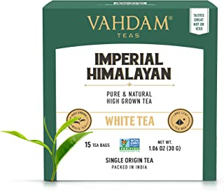 Sponsored Ad - VAHDAM, Imperial Himalayan White Tea 15 Tea Bags, Long Leaf Pyramid White Tea Bags Handpicked Harvest From ...