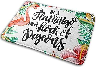 Watercolor Flamingo Palm Leaves Bath Mat Happy Holiday Non Slip Super Bathroom Rug Indoor Carpet Doormat Floor Dirt Trapper Mats Shoes Scraper 24x16 Inch