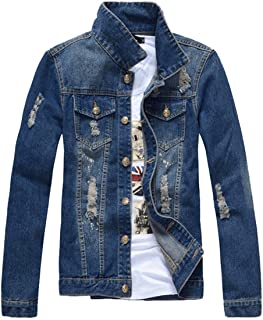 Mens Classic Ripped Motorcycle Denim Jacket with Hole