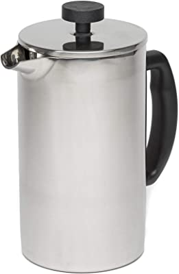 Primula Lexington French Press Coffee Tea Maker Insulated Stainless Steel Double Wall Vacuum Sealed, Filtration with No Grounds, 8 Cup
