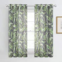 NICETOWN Natural Style Sheer Curtains - Faux Linen Sheer Semi-Transparent Stereo Watercolor Printed Spring Leaves Pattern for Bedroom (Apple Green, 52 inches W Each Panel, 63 inches L, 2 PCs)