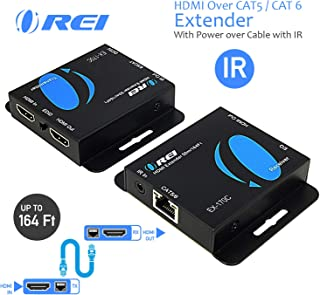 HDMI Extender Over CAT5/CAT6 by OREI with IR Upto 164 Feet - Loop Out - 1080P Full HD Signal Distribution (EX-170C)
