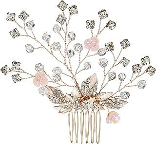 AnazoZ Tocado de Boda Flores con Hojas Circonita Blanca Tocado Pelo Boda Oro Rosa