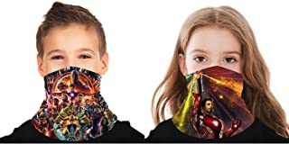 GJQQJJIN 2 Pack Super Heroes 3D Bandana Face Cover Scarf Shield Balaclava Neck Gaiter For Boys Girls