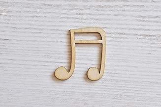 Juego de 10 notas musicales de madera cortadas con láser, con corte de madera, figura de madera contrachapada, adornos de madera para manualidades, decoración, sin pintar (EW0560), 10 cm