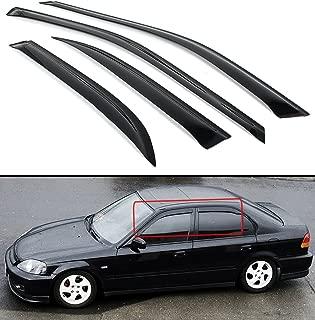 Cuztom Tuning Fits for 1996-2000 Honda Civic 4 Door Sedan JDM Smoke Tinted Window Visor Vent Shade
