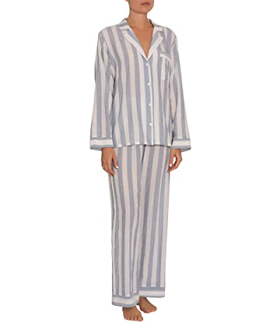 Eberjey Umbrella Stripes Woven Long PJ (Skye Blue/Cloud) Women