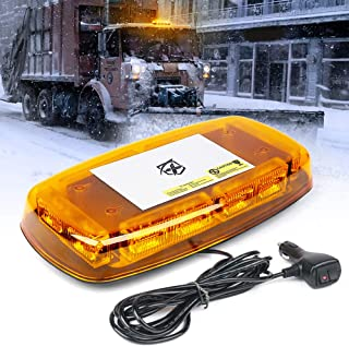Xprite Amber 36 LED Roof Top Emergency Strobe Warning Lights 15 Flash Modes Hazard Mini Beacon Flashing Bar Light with Magnetic Base for Law Enforcement Construction Vehicles Trucks Snow Plow