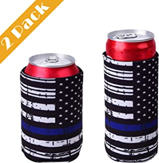 Jutoe Slim Can Coolers & Standard Can Cooler Sleeves Collapsible Neoprene Insulated Drink Cooler Coolies Cover Holder Can Coozies USA Flag Perfectly (2 Pack)