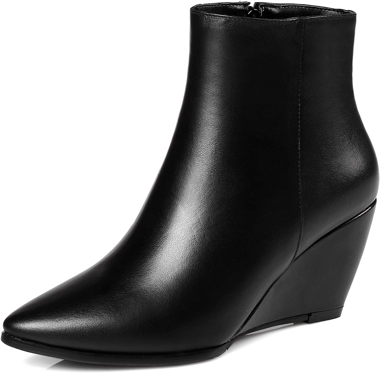 Original Intension Woherrar Ankle stövlar Real läder Wedge stövlar Zip svart skor kvinnor Big Storlek 13