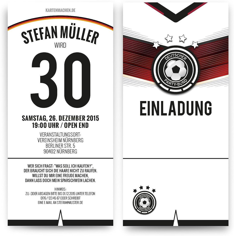 Einladungen (50 Stück) zum Geburtstag Deutschland Fußball Trikot 4 Sterne Einladungskarten B01416XIEI | Hochwertige Produkte