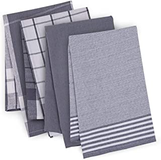 AWSHOM Tea Towel Set of 4-100% Cotton - Kitchen Towel with Classic Pattern - Lint Free and Washable- Tea Towels Cotton 50 ...