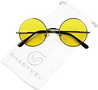 5f40c13f8c1 ShadyVEU - Retro Colorful Tint Lennon Style Round Groovy Hippie Wire  Sunglasses