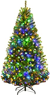 Goplus 5FT Pre-Lit Artificial Christmas Tree Auto-Spread/Close up Branches 11 Flash Modes with Multicolored LED Lights & Metal Stand