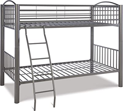 Benjara Metal Twin Bunk Bed with Attached Ladder, Silver