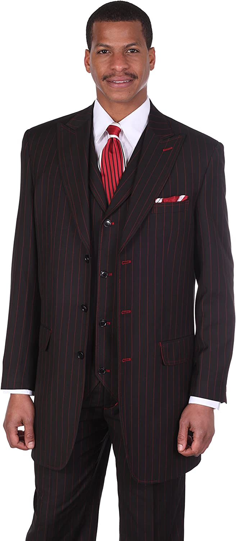 Milano Moda Men's 3pc Gangster Pin-Striped Three Button Suit 5903 w/Vest