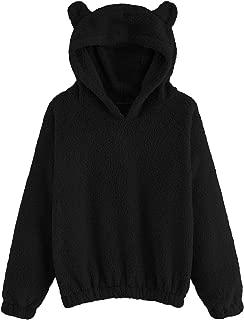 Women's Sherpa Pullover Fuzzy Fleece Sweatshirt Cute Ear Long Sleeve Causal Hoodie Top