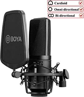 Large-Diaphragm Studio Microphone Podcast, New BOYA Audio Condenser Microphone with 3 Polar Patterns & Sturdy Housing for Vocal Recording Singer Podcaster Home Audio YouTube Video