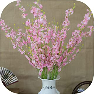 Artificial Orchid Flowers 5 Branch Silk Oncidium Hybridum Dancing Doll Orchid for Home Wedding Garden Decor,A09-4