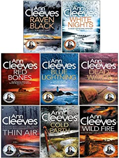 Ann Cleeves Shetland Series 8 Books Collection Set (Raven Black, White Nights, Red Bones, Blue Lightning, Dead Water, Thin Air, Cold Earth, Wild Fire)
