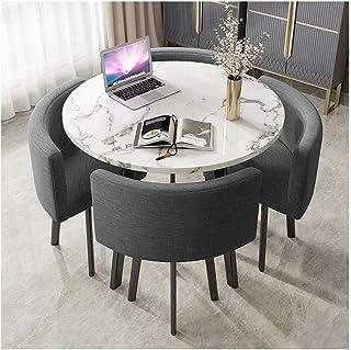 Ronde Accueil Salon Table À Manger Table Ronde 90cm Marbre Simples Bureau Table Loisirs Rétro Pieds En Métal 4 Places Coto...