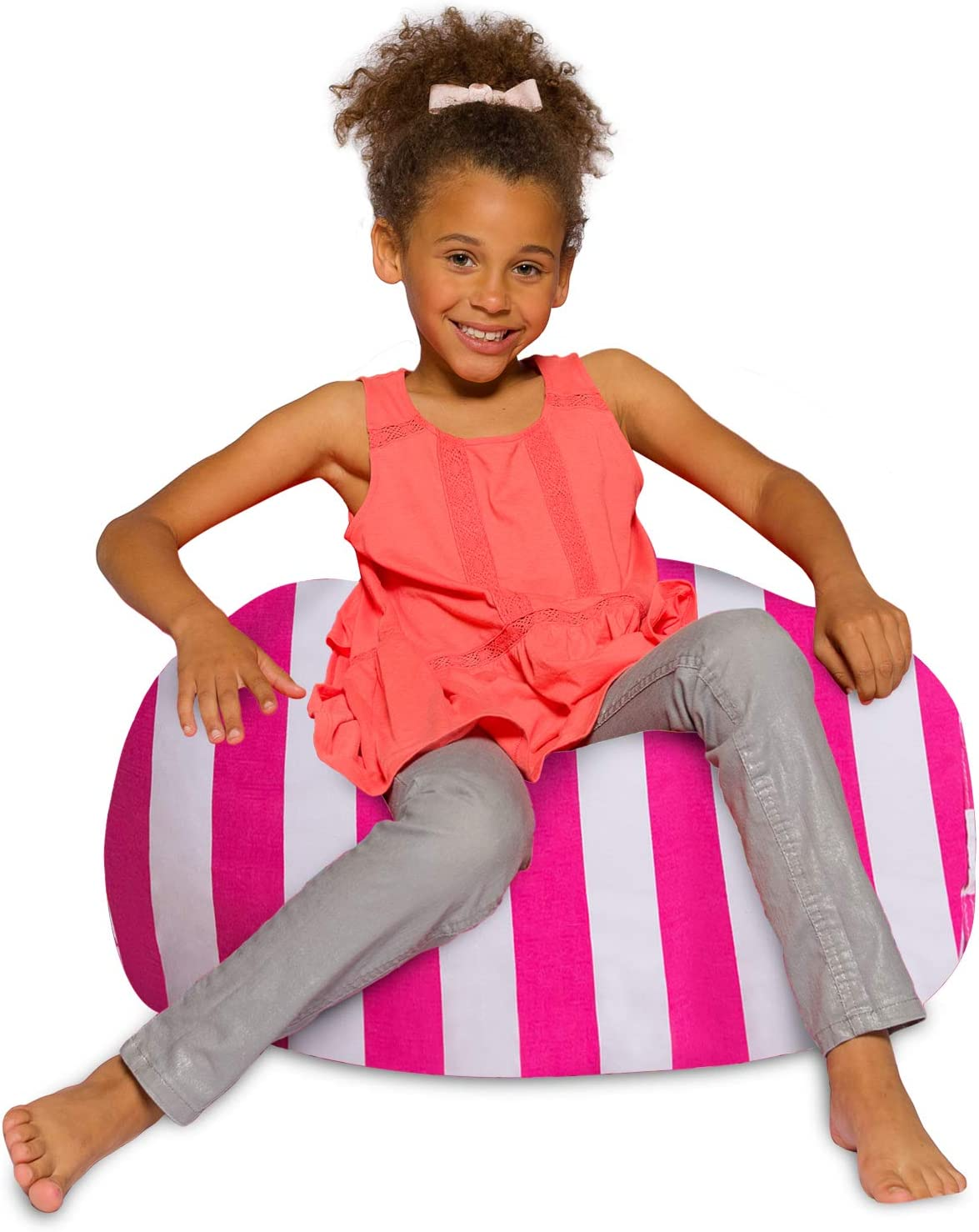 Posh Creations Bean Bag Chair for Kids, Teens, and Adults Includes Removable and Machine Washable Cover, 27in - Medium, Canvas Stripes Pink and White