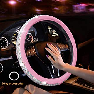 New Diamond Leather Steering Wheel Cover with Bling Bling Crystal Rhinestones, Universal Fit 15 Inch Anti-Slip Wheel Protector for Women Girls (Pink Color Diamond)