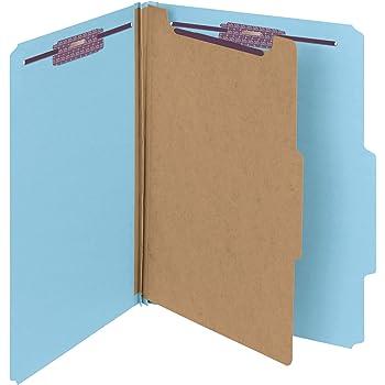 "Smead Pressboard Classification File Folder with SafeSHIELD Fasteners, 1 Divider, 2"" Expansion, Letter Size, Blue, 10 per Box (13730)"