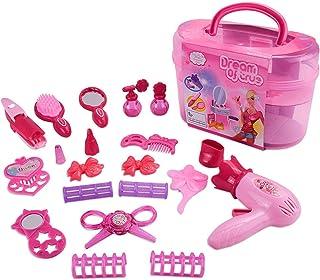Lizefang Kit de Maquillaje para niños de 21 Piezas con secador de Pelo, Espejo, Peine, Plancha de Pelo rizadora, Juego de salón de Belleza de Juego de simulación, Juguetes de salón de Belleza de Moda