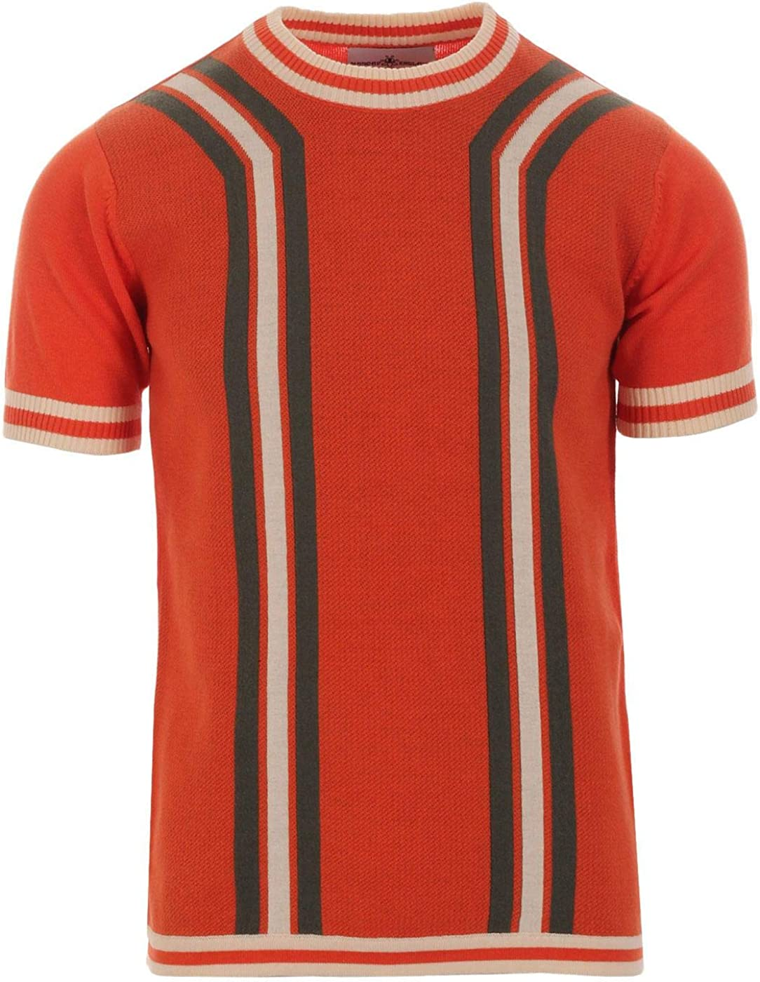1960s Mens Shirts | 60s Mod Shirts, Hippie Shirts Madcap England Modernista Mens Retro 60s 70s Waffle Knit Short Sleeve Knitted Striped T-Shirt Jumper £29.99 AT vintagedancer.com