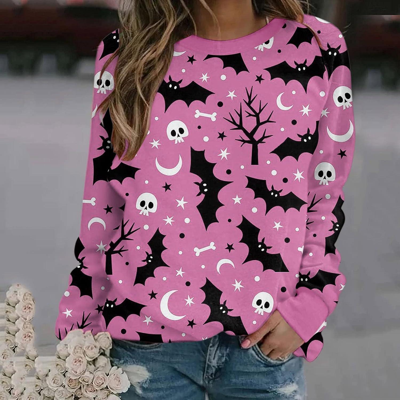 Jaqqra Halloween Shirts for Women Bat Print Long Sleeve Crewneck Sweatshirts Casual Loose Pullover Tops Costumes