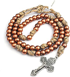 10mm Copper Plated Round Beads Paracord Military Rosary for Men