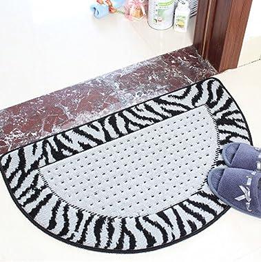 Non-Slip Fabric&Velvet Semi-Circle Doormat Bath Rug 48x78cm [Zabra&Lattice]