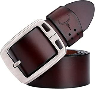 Men's Fashion Leather Belt with Alloy Buckle Causal Male Waist Strap 120cm