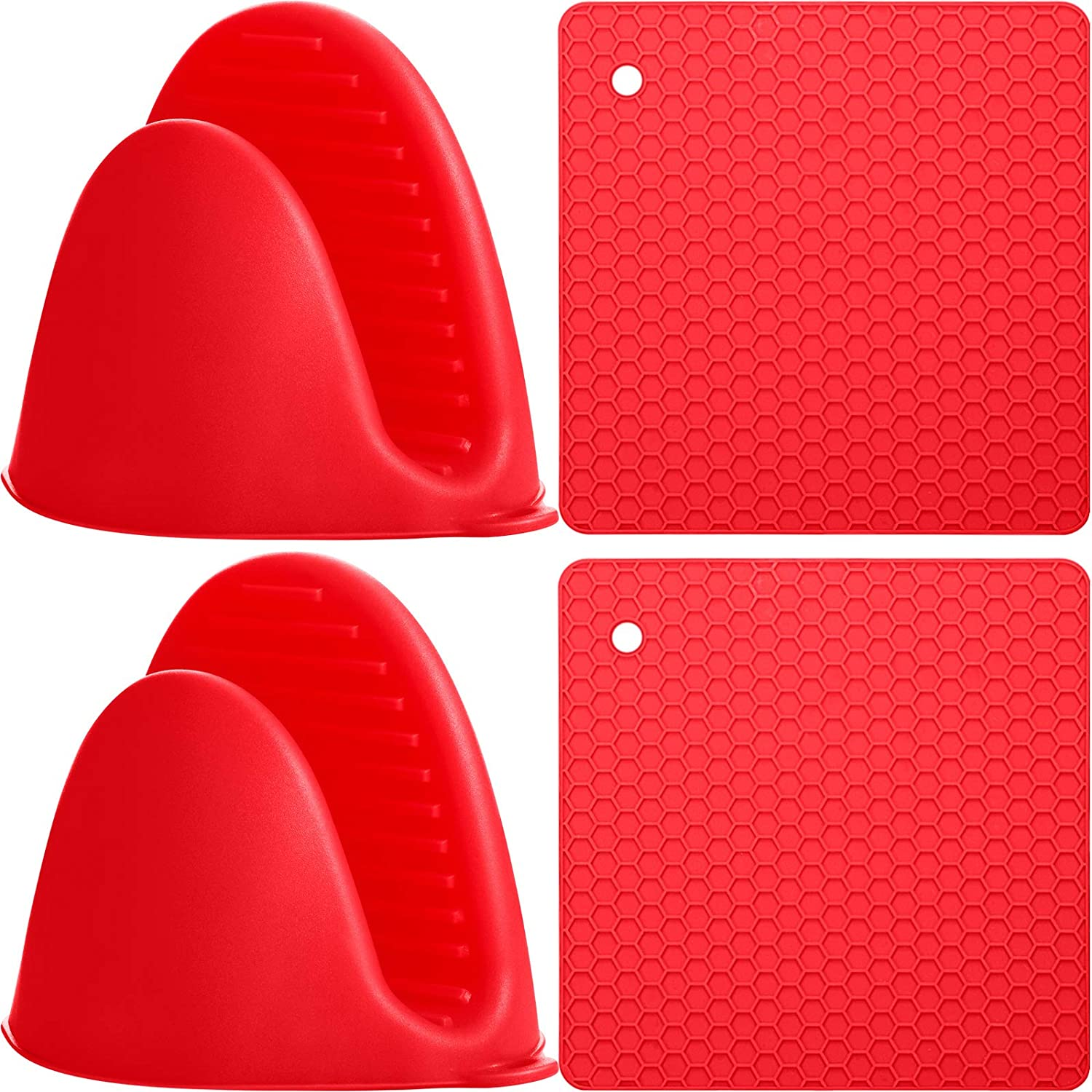 4 Pieces Cooking Pinch Mitts Set Includes 2 Pieces Mini Heat Resistant Oven Gloves 2 Pieces Silicone Insulation Pads Potholder Anti-Scald Heat for Cooking Baking, Red