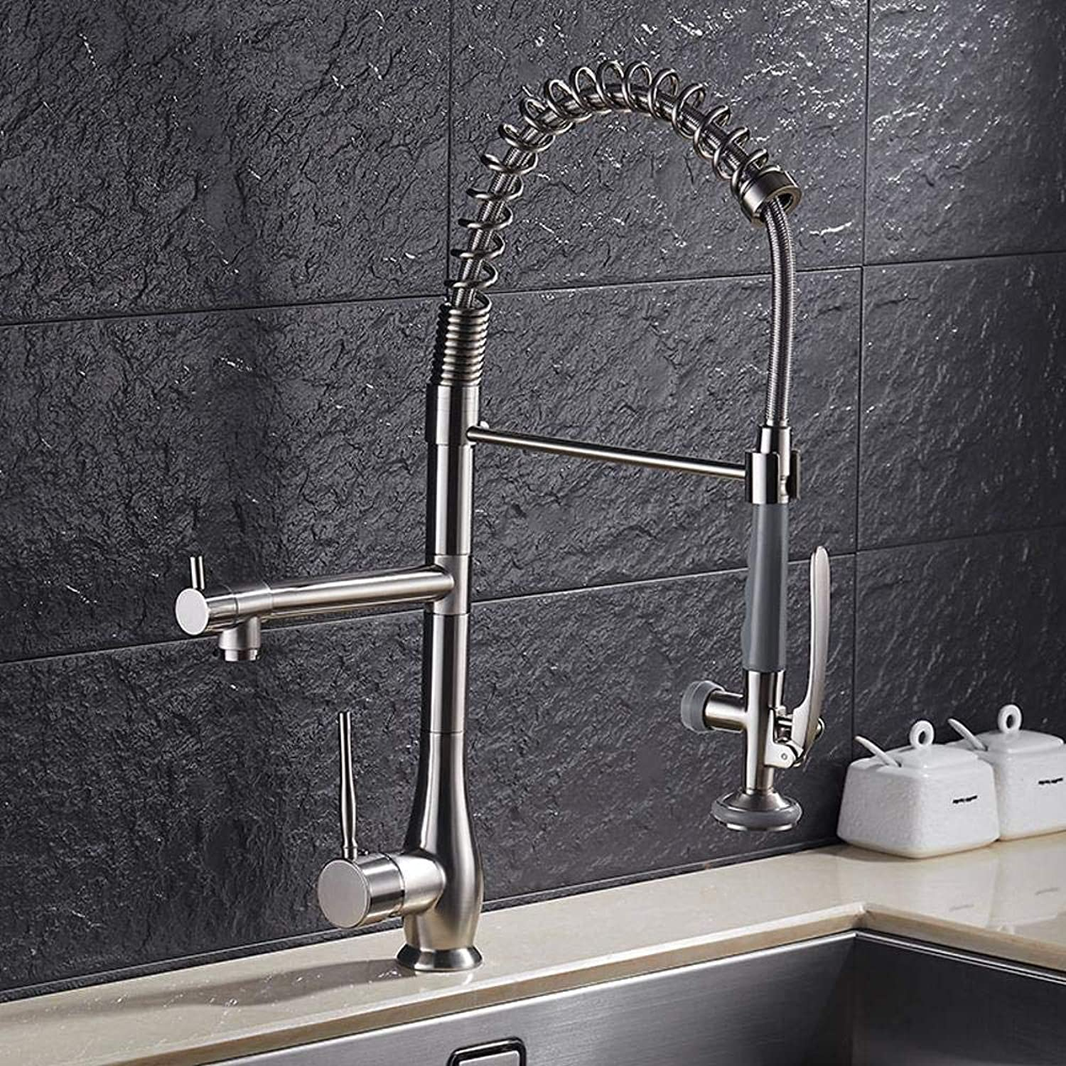 Lxj Faucet nickel Drawing Kitchen pull-out faucet redary dual-purpose dish basin sink hot and cold faucet