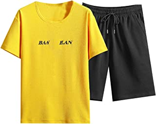 XINHEO Men's Summer 2 Piece Set Casual Letter Printed Active Joggers Set